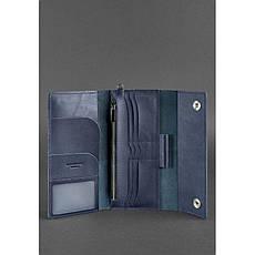 Кожаный клатч-органайзер (Тревел-кейс) 5.0 Темно-синий, фото 2