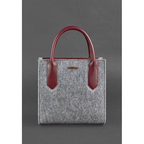 Фетровая женская сумка-кроссбоди Blackwood с кожаными бордовыми вставками, фото 2