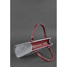 Фетровая женская сумка-кроссбоди Blackwood с кожаными бордовыми вставками, фото 3