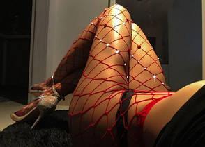Колготы красные крупная сеточка с сердечками  и стразами-315-05, фото 2