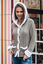 Вязаная кофта теплая укороченная с капюшоном и белым мехом 44-50, фото 2