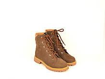 Ботинки подростковые для девочки натуральный нубук коричневые зимние и демисезонные 233121
