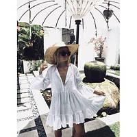 Пляжное платье короткое белое коттон-146-43