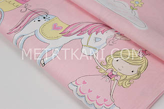 """Сатин   """" Сказочные  принцессы   """"  на розовом фоне   № 160-39 с"""