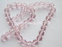Намистини 6 мм круглі грановані- скло, рожеві (10 шт.)