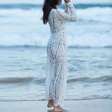 Халат пляжный белый с гипюром Кружевная Длинная Пляжная Туника Парео Накидка Стильная длинный рукав, фото 3