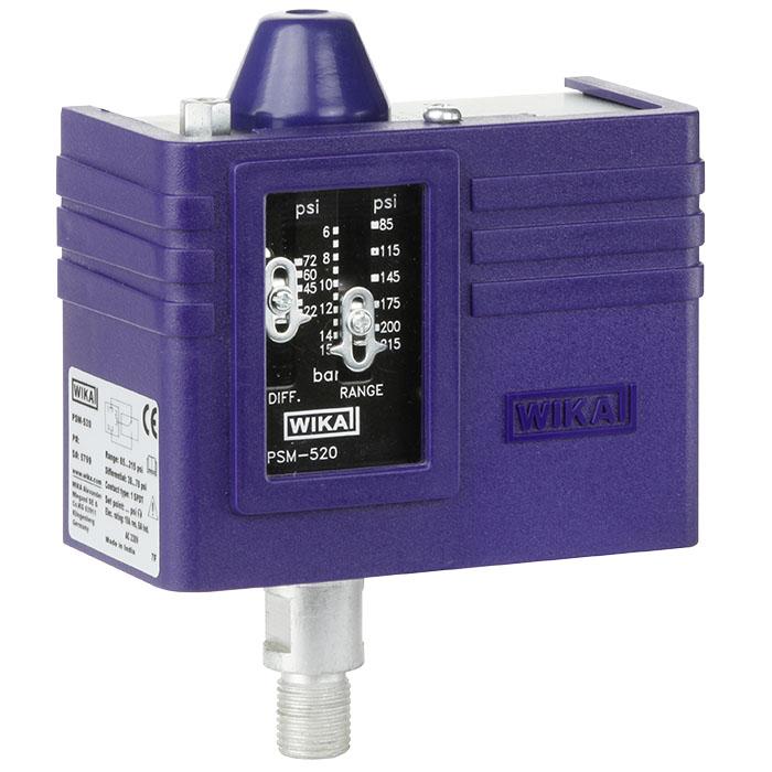 Реле тиску PSM-520 -0,4...+7 бар, макс. 16 бар, G1/4-M, 1xSPDT, 6A(10A)/230 В, ± 2% FSR
