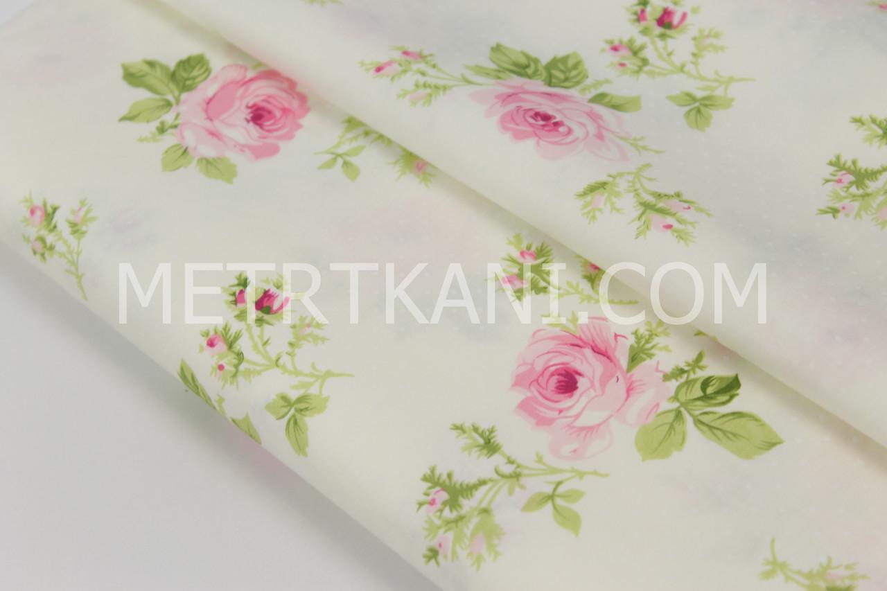 """Сатин   """" Розы с салатовыми листьями и белыми точками"""" на молочном  """"  № 160-41 с"""