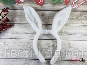 Обруч ушки зайчонка, белые , мех