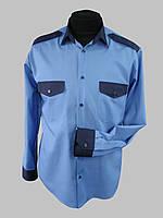 Голубая комбинированная рубашка с длинным рукавом, фото 1