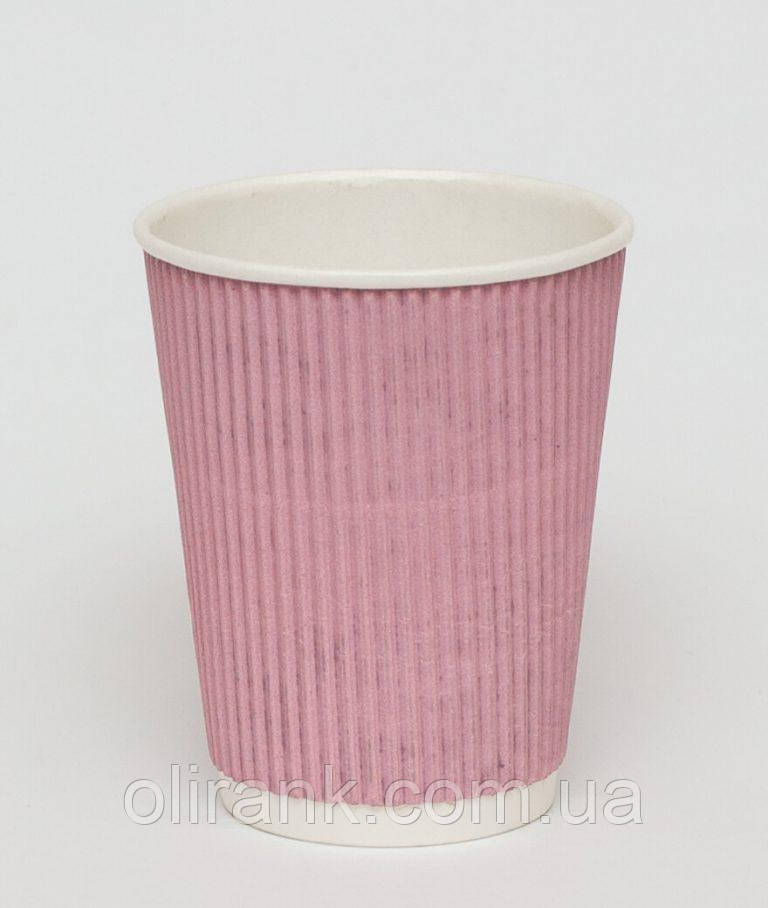 Стакан паперовий RIPPLE  250 мл рожевий 20шт/уп (40уп/ящ) (кр -75)