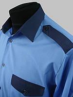 Голубая комбинированная рубашка с коротким рукавом