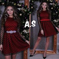 Платье нарядное красивое с пышной юбкой и рукавами из сетки в горошек Smas2934
