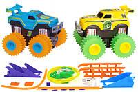 Машинки на бат. Trix Trux вездеходы-трюкачи набор 2 машинки с трассой