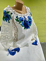 "Нежная блузка из льна с кружевами ""Синие маки"""