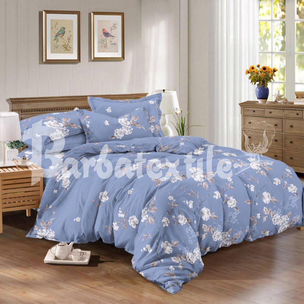 6fffd7fad1d7 Комплект постельного белья двуспального размера бязь голубого цвета с  цветочным принтом