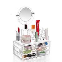 Органайзер для косметики с зеркалом. Акриловый органайзер с зеркалом для косметики Cosmetic Organozer.