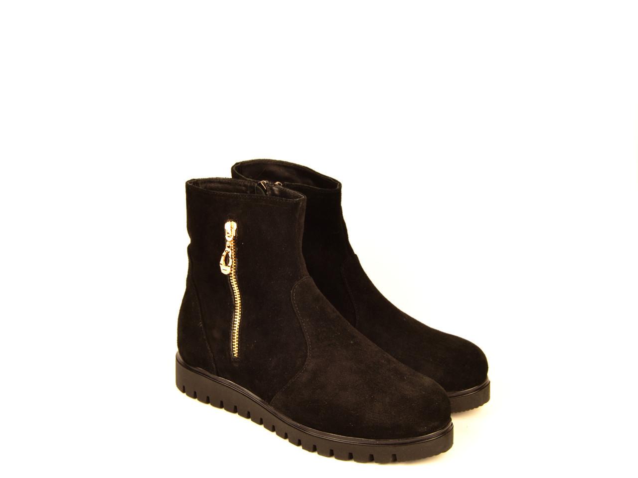 Ботинки подростковые девочке натуральная замша черные  зимние и демисезонные 153015