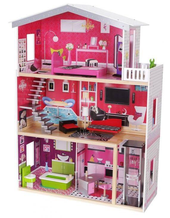 Игровой кукольный домик с лифтом Ecotoys 4118 Malibu (3 этажа) для детей