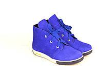 Ботинки подростковые для девочки натуральная замша синие цвет электрик зимние демисезонные 253101
