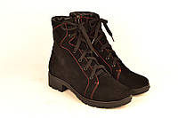 Ботинки для девочки подростковые натуральная замша черные с красной строчкой зимние и демисезонные 233010