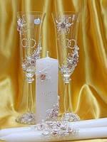 """Бокалы и свечи """"Свадебные кольца"""" в бежевом цвете"""