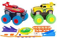 Машинки на бат. Trix Trux вездеходы-трюкачи набор 2 машинки с трассой красный+желтый