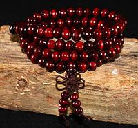 Мала четки темно-красные из натурального дерева 108 бусин по 8 мм