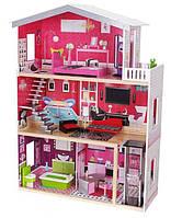 Игровой кукольный домик с лифтом Ecotoys 4118 Malibu (3 этажа) для детей, фото 1