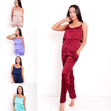 """Пижама женская шелковая с брюками «Агния"""", фото 2"""