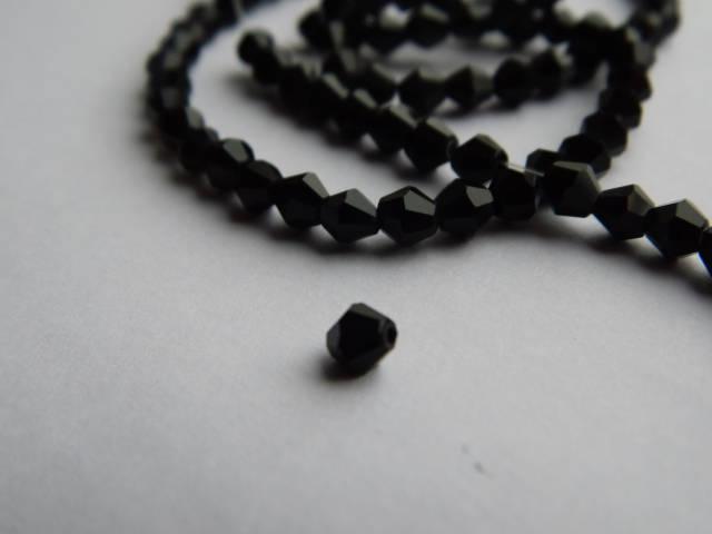 Намистини  біконус кришталеві (Чехія) Чорні 2*3 мм (20 шт.)