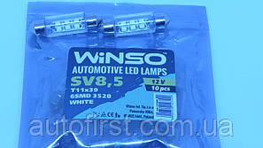 WINSO Автолампа LED 12V SV8.5 T11x39 6Leds 3528 white
