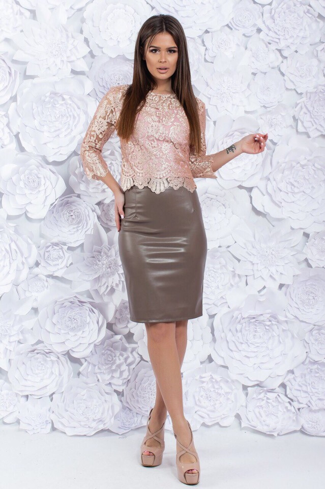 Костюм юбка экокожа 74241