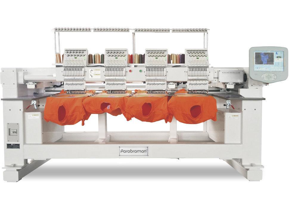 Parabraman PR-1204CH, четырехголовая тубулярная промышленная вышивальная машина с полем вышивки 1600 х 450 мм