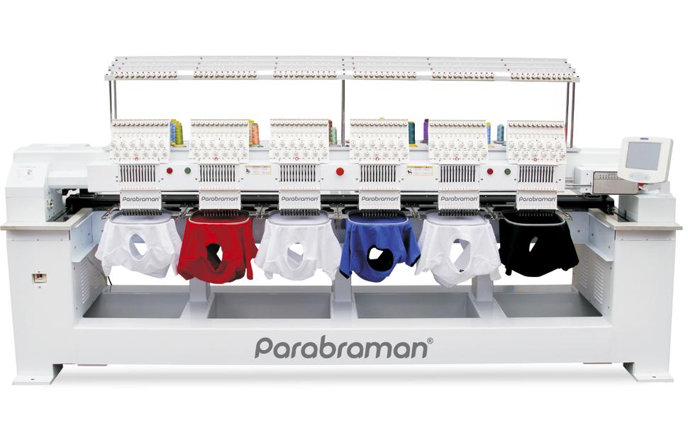 Parabraman PR-1206CN, шестиголовая тубулярная промышленная вышивальная машина с полем вышивки 2400 х 450 мм
