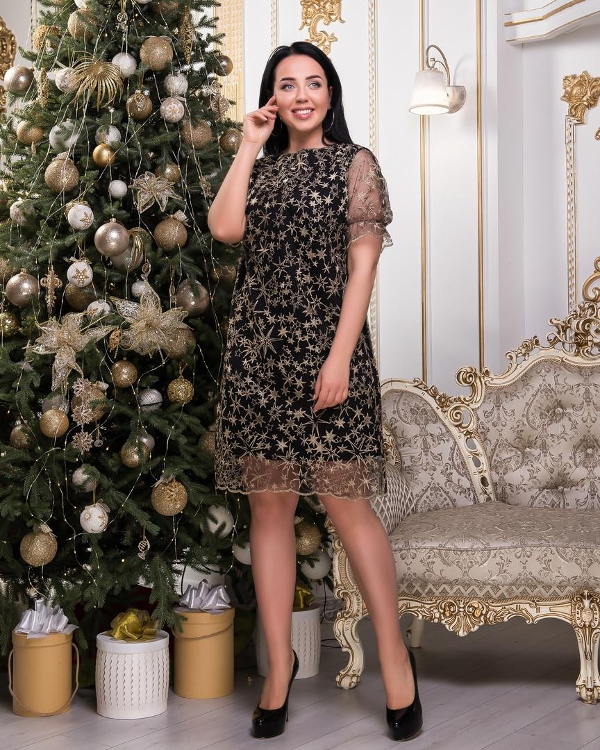 Платье женское Звездочки Ткань масло сетка Размеры 48-50,52-54