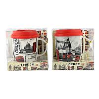 Чашка с силиконовой крышкой и ложкой London