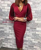 Женское платье с V-образным вырезом и бархатными рукавами, фото 1