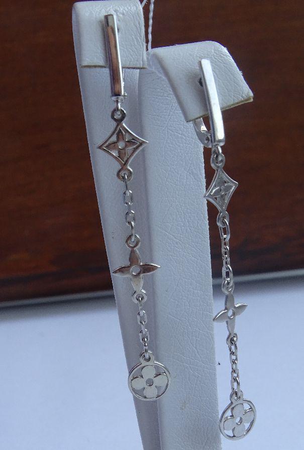 Серебряные серьги - подвески в стиле  Louis Vuitton