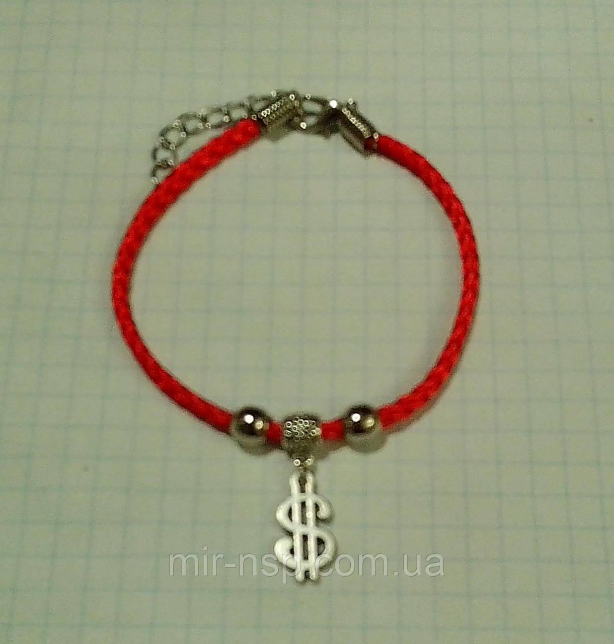 """Красная нить - браслет с талисманом """"Доллар"""""""