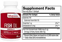 Walgreens, Рыбий жир, Омега-3, 1000 мг, 60 капсул