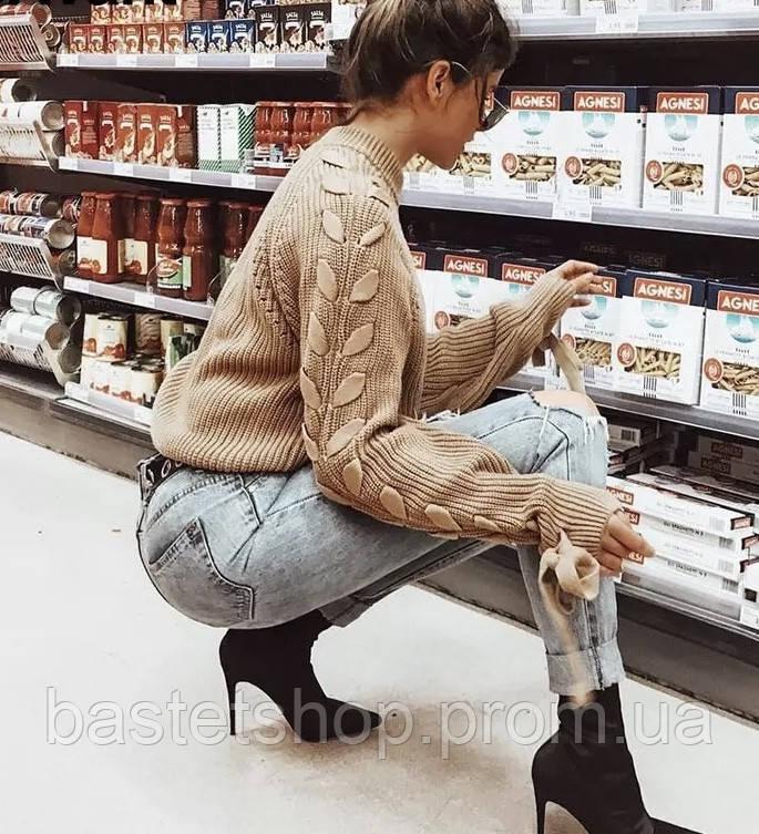 В'язаний джемпер жіночий зі шнурівкою на рукавах