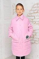 Демисезонная детская куртка на девочку «Алиса», розовый принт ТМ MANIFIK