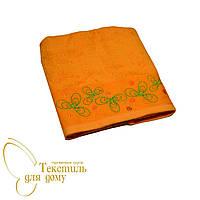 Полотенце лицевое 50*90 с вышивкой, оранжевое