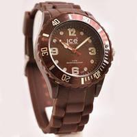 Качественные мужские наручные часы  Ice Watch коричневые силиконовые водонепроницаемые Айс Воч реплика