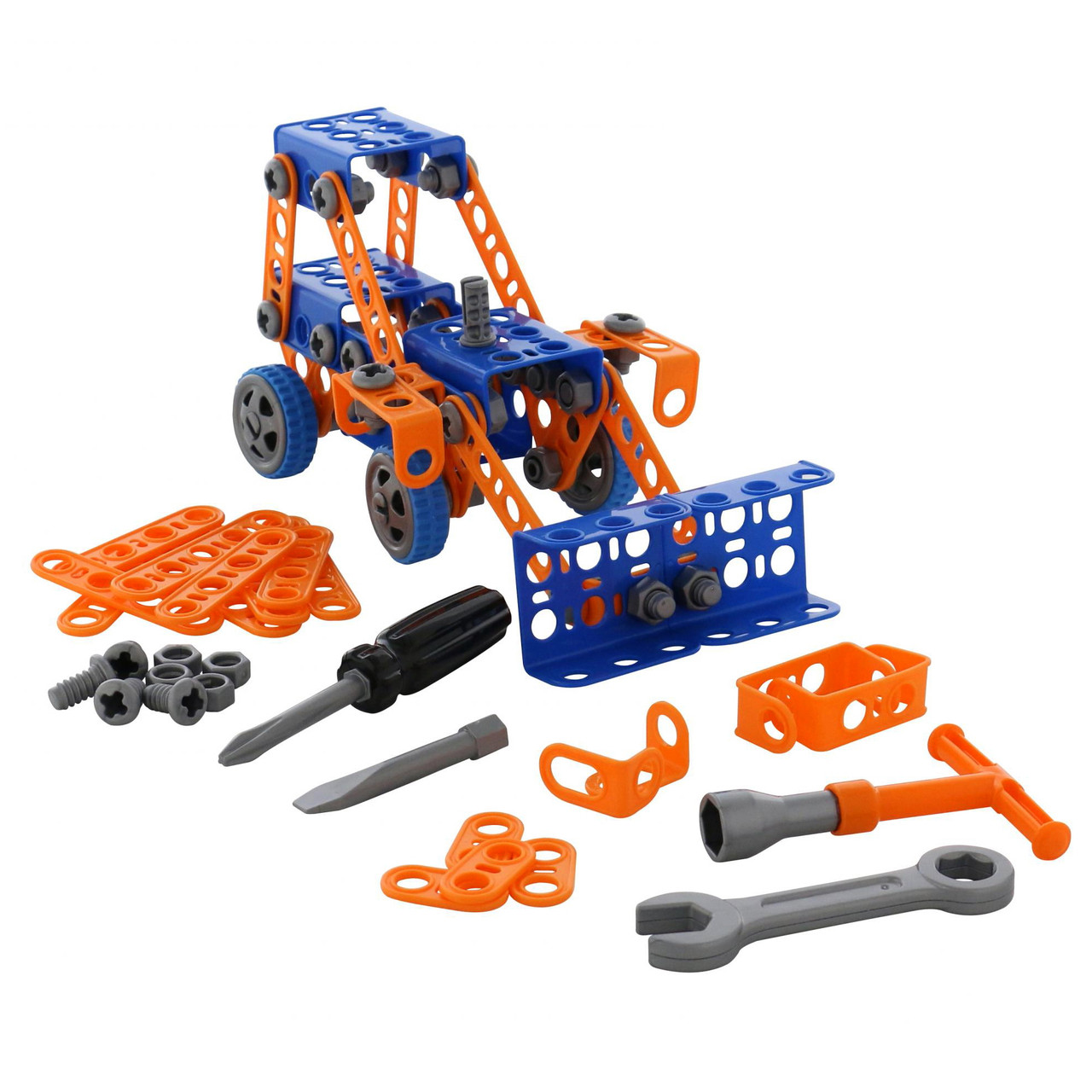 Конструктор Изобретатель Трактор-погрузчик № 1, 141 элемент, «Полесье» (55064)