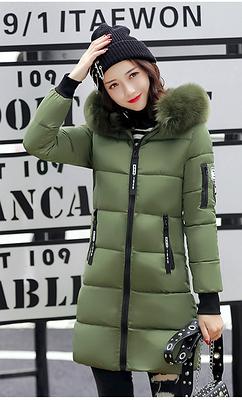 Куртка пуховик зимняя на синтепоне с капюшоном манжетами декоративный мех принт цвет зелёный размер 44-46
