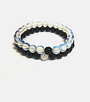 Парные браслеты из натуральных камней Черный агат и Лунный камень