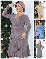 Нарядное блестящее платье на запах с воланами Батал до 58 р 17233, фото 1