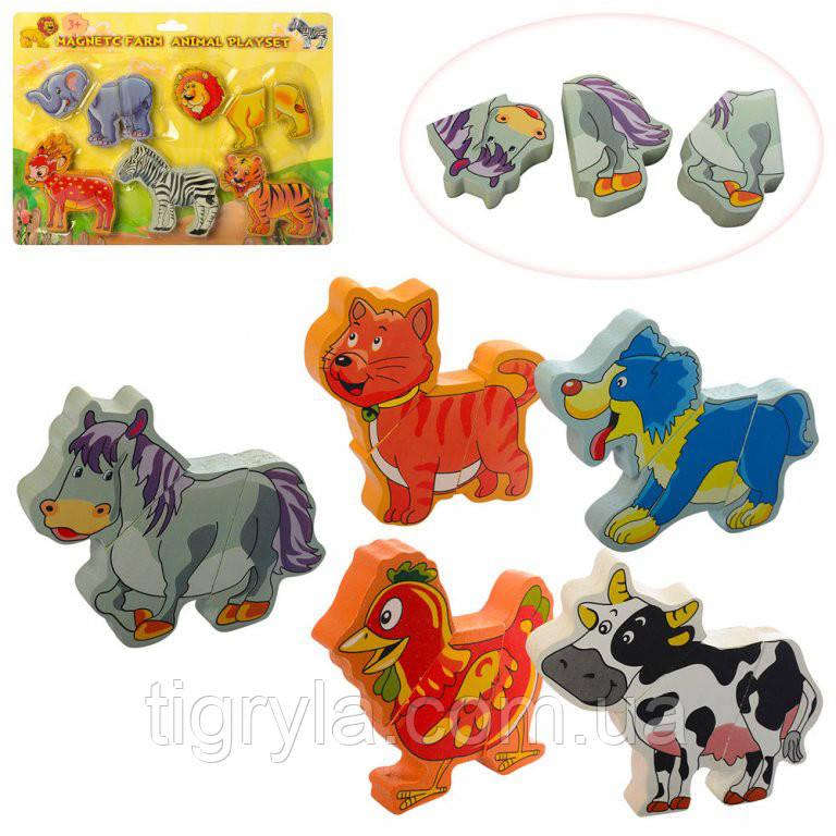 5 зверюшек пазлов, деревянная игрушка пазлы животные 2 вида - дикие и домашние
